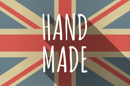 Illustration of a long shadow UK flag with the text HAND MADE
