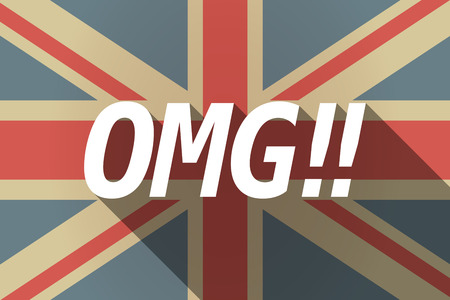 kingdom of god: Illustration of a long shadow UK flag with    the text OMG!!