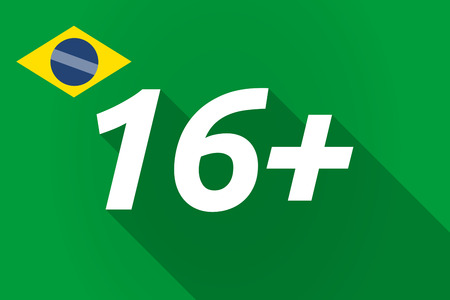 approval rate: Illustration of a long shadow Brazil flag with    the text 16+ Illustration
