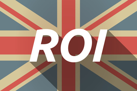 return: Illustration of a long shadow UK flag with    the return of investment acronym ROI
