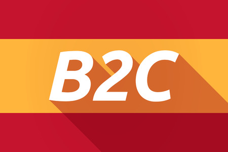 b2c: Illustration of a long shadow Spain flag with    the text B2C