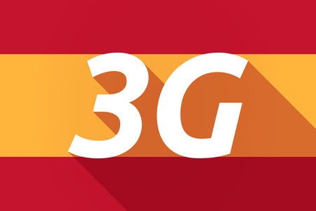 3g: Illustration of a long shadow Spain flag with    the text 3G