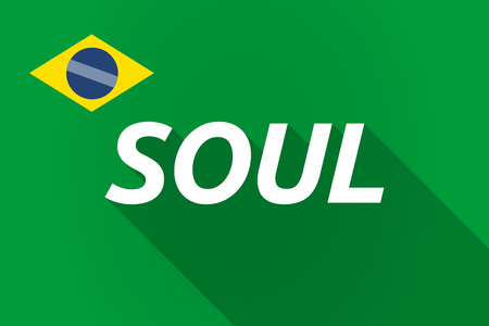 the soul: Illustration of a long shadow Brazil flag with    the text SOUL Illustration