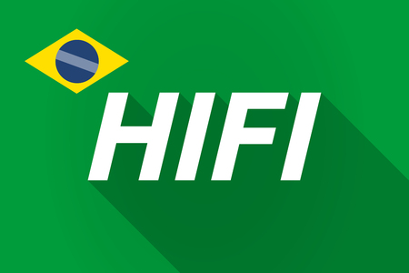 fidelity: Illustration of a long shadow Brazil flag with    the text HIFI Illustration