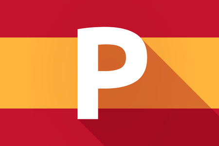 valet: Illustration of a long shadow Spain flag with    the letter P