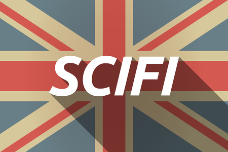 speculative: Illustration of a long shadow UK flag with    the text SCIFI