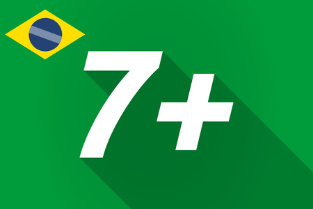 approval rate: Illustration of a long shadow Brazil flag with    the text 7+