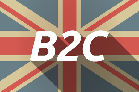 b2c: Illustration of a long shadow UK flag with    the text B2C Illustration