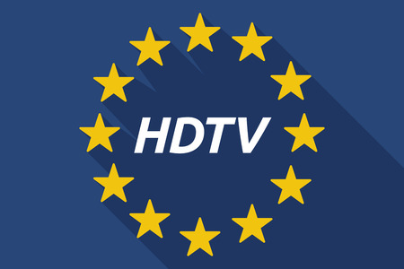 hdtv: Illustration of a long shadow European Union flag with    the text HDTV