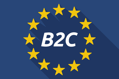 b2c: Illustration of a long shadow European Union flag with    the text B2C