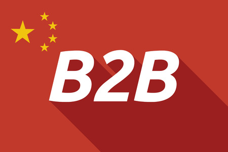 b2b: Illustration of a long shadow China flag with    the text B2B