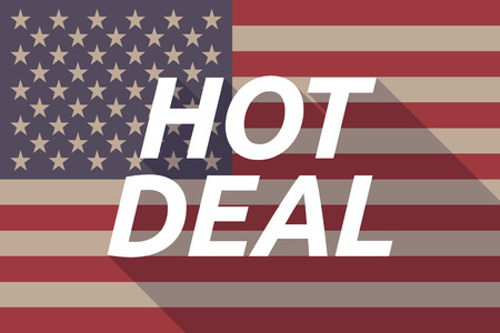 hot deal: Illustration of a long shadow USA flag with    the text HOT DEAL