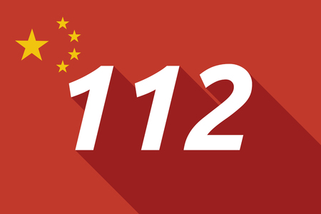 Illustration of a long shadow China flag with    the text 112