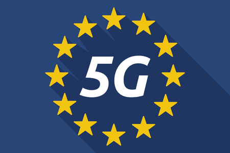 5g: Illustration of a long shadow European Union flag with    the text 5G Illustration