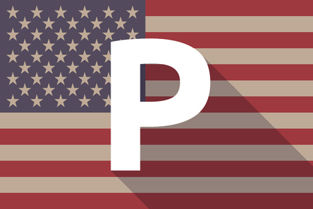 valet: Illustration of a long shadow USA flag with    the letter P