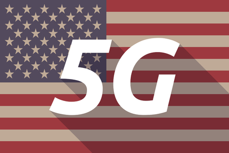 5g: Illustration of a long shadow USA flag with    the text 5G
