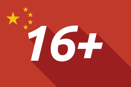 approval rate: Illustration of a long shadow China flag with    the text 16+