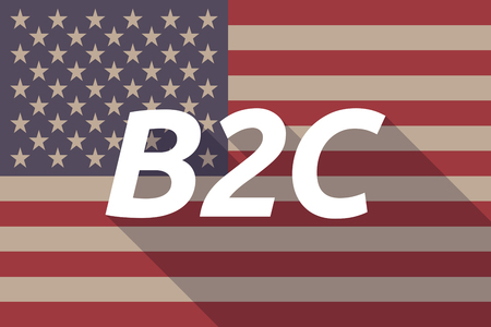 b2c: Illustration of a long shadow USA flag with    the text B2C Illustration