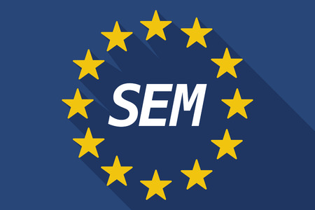 sem: Illustration of a long shadow European Union flag with    the text SEM