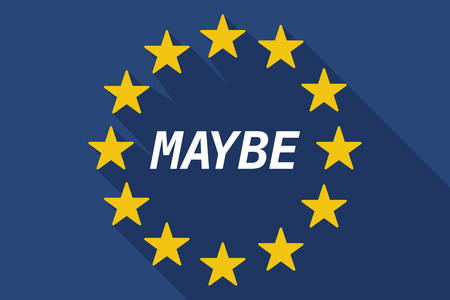 maybe: Illustration of a long shadow European Union flag with    the text MAYBE
