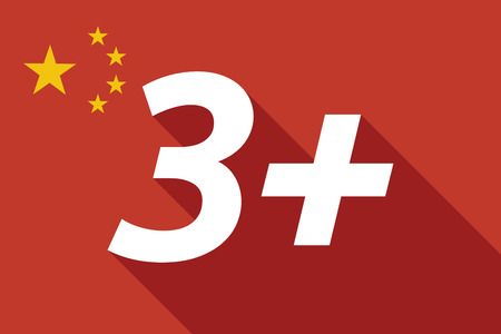approval rate: Illustration of a long shadow China flag with    the text 3+