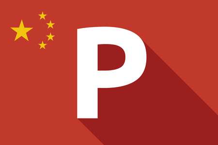 valet: Illustration of a long shadow China flag with    the letter P