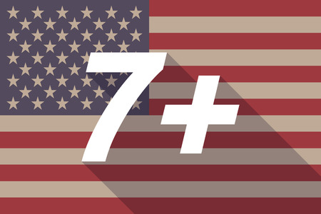approval rate: Illustration of a long shadow USA flag with    the text 7+