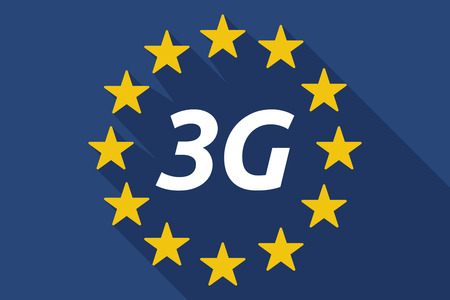 3g: Illustration of a long shadow European Union flag with    the text 3G