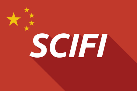 speculative: Illustration of a long shadow China flag with    the text SCIFI