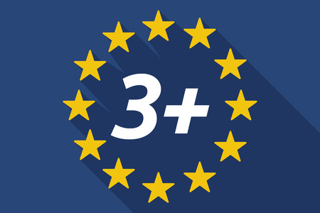 approval rate: Illustration of a long shadow European Union flag with    the text 3+