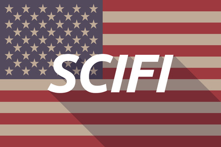 speculative: Illustration of a long shadow USA flag with    the text SCIFI Illustration