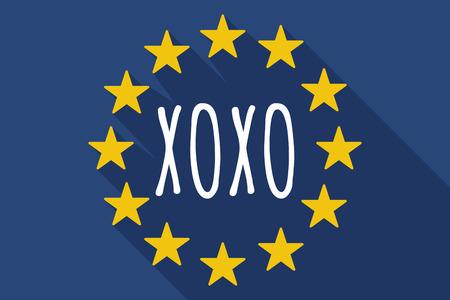 xoxo: Illustration of a long shadow European Union flag with    the text XOXO