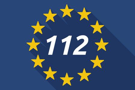 Illustratie van een lange schaduw vlag van de Europese Unie met de tekst 112 Vector Illustratie