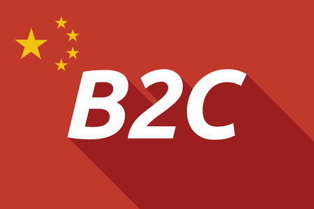 b2c: Illustration of a long shadow China flag with    the text B2C