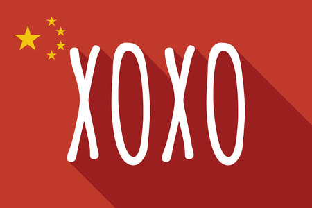 xoxo: Illustration of a long shadow China flag with    the text XOXO