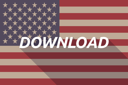 american downloads: Illustration of a long shadow USA flag with    the text DOWNLOAD Illustration