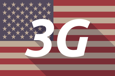 3g: Illustration of a long shadow USA flag with    the text 3G