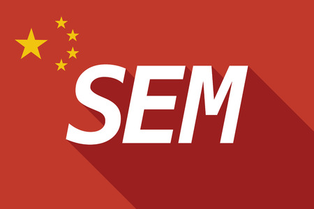 sem: Illustration of a long shadow China flag with    the text SEM