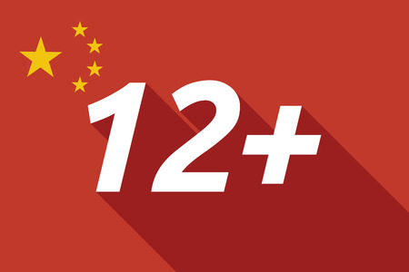 approval rate: Illustration of a long shadow China flag with    the text 12+