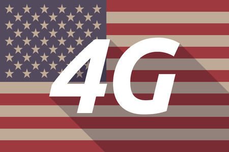 4g: Illustration of a long shadow USA flag with    the text 4G Illustration