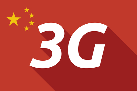 3g: Illustration of a long shadow China flag with    the text 3G Illustration