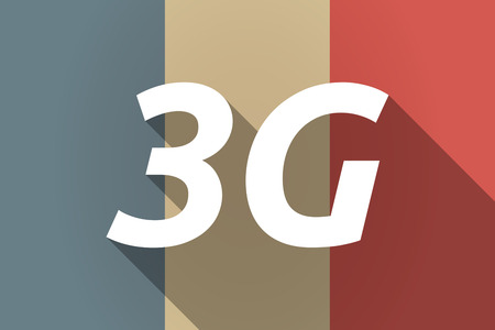 3g: Illustration of a Long shadow France flag with    the text 3G