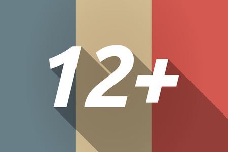 12: Illustration of a Long shadow France flag with    the text 12+ Illustration