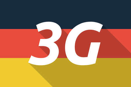 3g: Illustration of a Long shadow Germany flag with    the text 3G