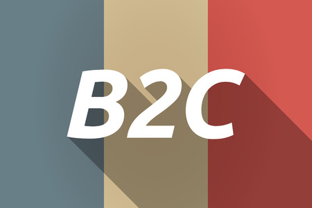b2c: Illustration of a Long shadow France flag with    the text B2C