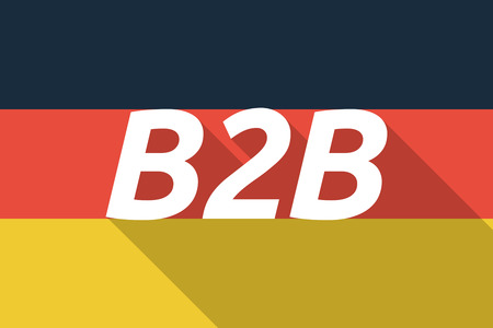 b2b: Illustration of a Long shadow Germany flag with    the text B2B