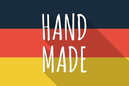 made in germany: Illustration of a Long shadow Germany flag with    the text HAND MADE