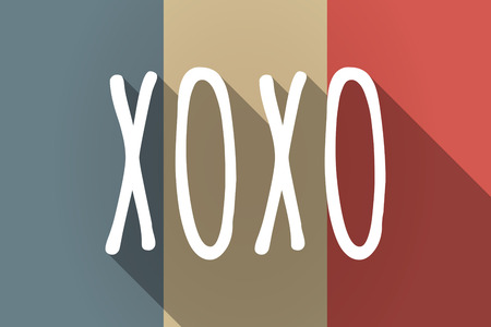 xoxo: Illustration of a Long shadow France flag with    the text XOXO