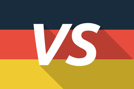 vs: Illustration of a Long shadow Germany flag with    the text VS