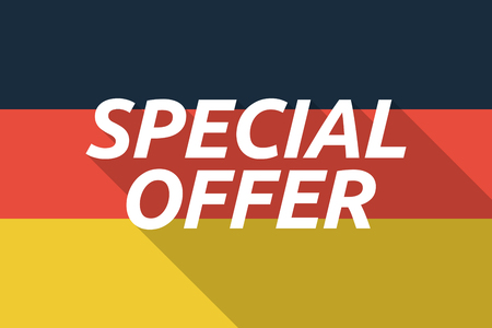 bargains: Illustration of a Long shadow Germany flag with    the text SPECIAL OFFER Illustration